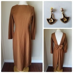 Vintage 60's Brown Sheath Dress With Bow +Earrings
